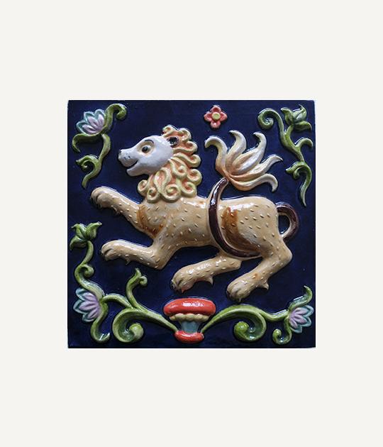 Купить изразцы в Ярославле - Лев 25х25, цвет синий