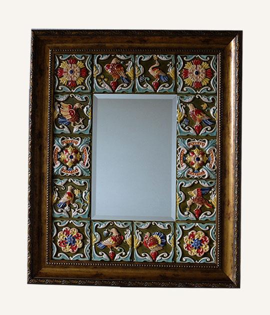 Интерьерное зеркало с ярославскими изразцами - Лесная Сказка